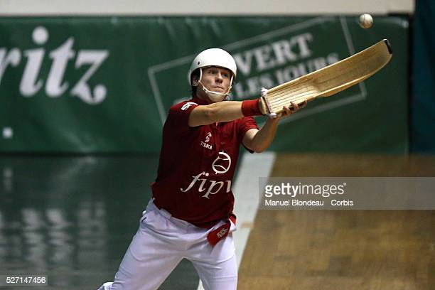 Diego Beaskoetxea competes during the Cesta Punta World Championship semifinals match at the Jai Alai of Biarritz Basque Country southwestern France...
