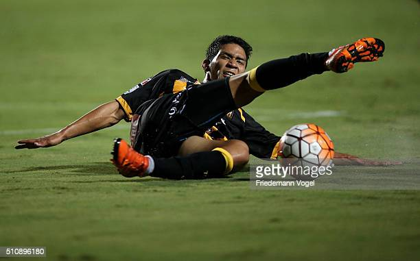 Diego Bejarano of The Strongest runs with the ball during a match between Sao Paulo v The Strongest as part of Group 1 of Copa Bridgestone...