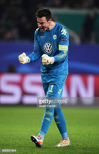 Diego Benaglio captain of Wolfsburg celebrates his team's winning goal during the UEFA Champions League match between VfL Wolfsburg and Manchester...