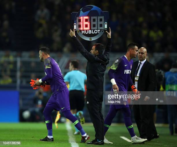 Diego Benaglio of Monaco is replaced by substitute Danijel Subasic of Monaco during the Group A match of the UEFA Champions League between Borussia...