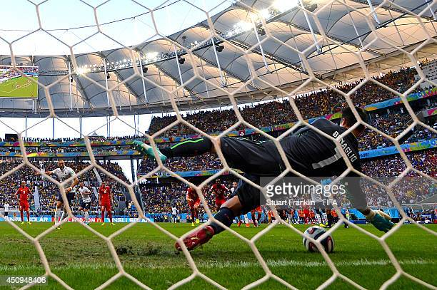 Diego Benaglio of Switzerland saves a penalty shot by Karim Benzema of France during the 2014 FIFA World Cup Brazil Group E match between Switzerland...