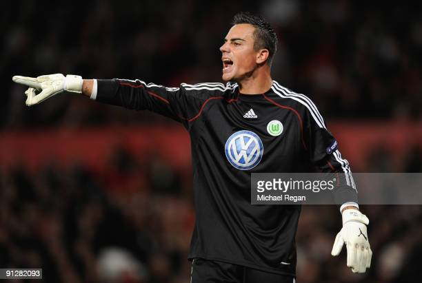 Diego Benaglio of VfL Wolfsburg gestures during the UEFA Champions League Group B match between Manchester United and VfL Wolfsburg at Old Trafford...