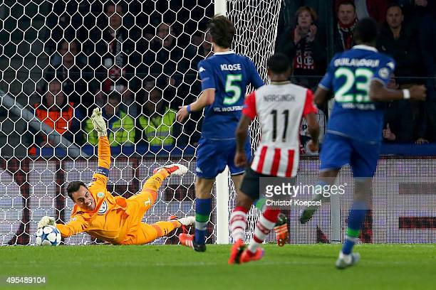 Diego Benaglio of Wolfsburg saves a ball during the UEFA Champions League Group B match between PSV Eindhoven and VfL Wolfsburg at Philips Stadion on...