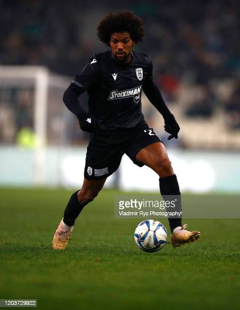 Diego Biseswar of PAOK in action during the Greece SuperLeague match between Panathinaikos FC and P.A.O.K. At OAKA Stadium on February 02, 2020 in...