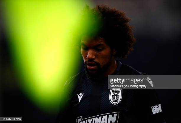 Diego Biseswar of PAOK is pictured during the Greece SuperLeague match between Panathinaikos FC and P.A.O.K. At OAKA Stadium on February 02, 2020 in...