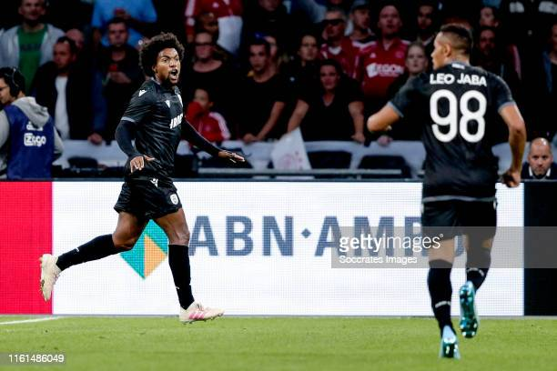 Diego Biseswar of PAOK Saloniki celebrates 0-1 during the UEFA Champions League match between Ajax v PAOK Saloniki at the Johan Cruijff Arena on...