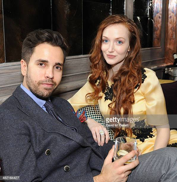 Diego BiveroVolpe and Olivia Grant attends a drinks reception hosted by Ben Fogle and Bernie Shrosbree to celebrate Johnnie Walker Blue Label Alfred...