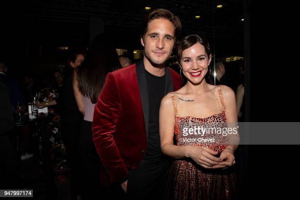 Diego Boneta and Camila Sodi pose during the Netflix Luis Miguel Premiere Party at Cinemex Antara on April 17 2018 in Mexico City Mexico