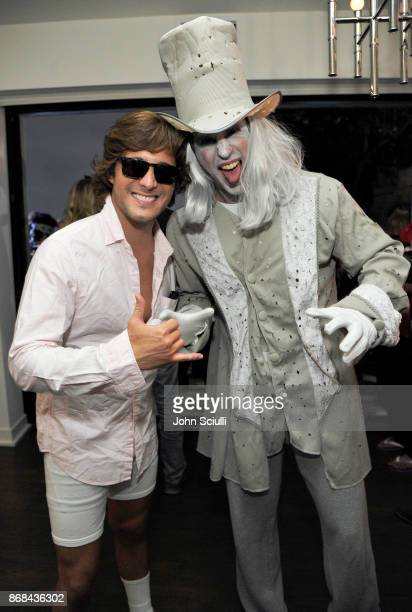 Diego Boneta and Nasos Papargyropoulos attend Diego Boneta's David Bernon's Halloween at the Hedges by Chivas Regal on October 30 2017 in West...