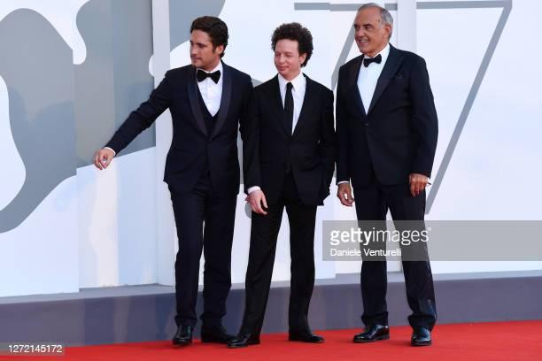 Diego Boneta, Michel Franco and Director of 77 Mostra Internazionale d'Arte Cinematografica Alberto Barbera walk the red carpet ahead of closing...