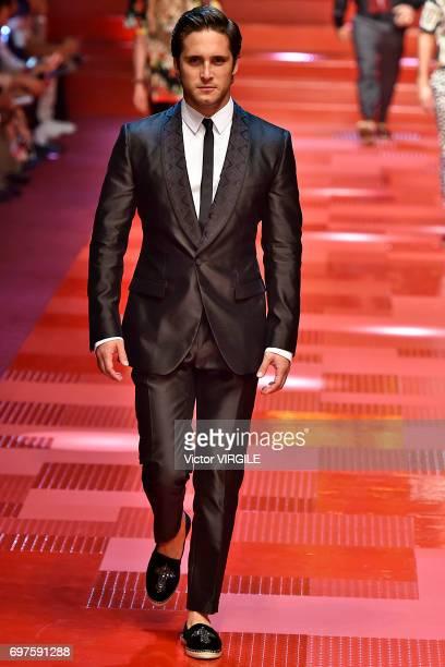 Diego Boneta walks the runway at the Dolce Gabbana show during Milan Men's Fashion Week Spring/Summer 2018 on June 17 2017 in Milan Italy