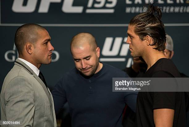 Diego Brandao and Brian Ortega face off during the Ultimate Media Day at the MGM Grand Hotel/Casino on December 31 2015 in Las Vegas Nevada