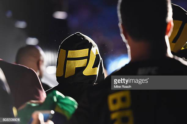 Diego Brandao of Brazil and his team walk to the Octagon during the UFC 195 event inside MGM Grand Garden Arena on January 2 2016 in Las Vegas Nevada