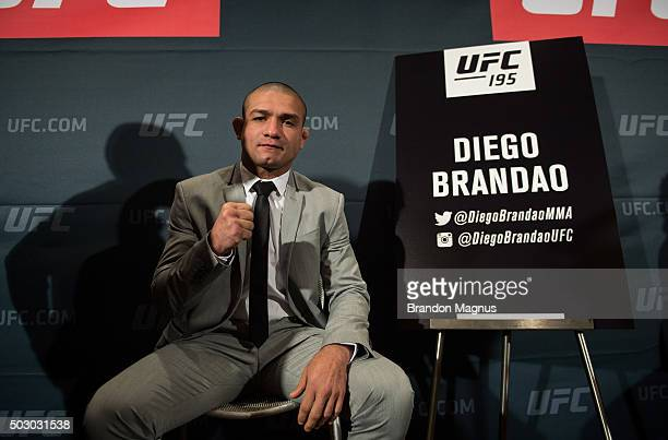 Diego Brandao poses for a portrait during the Ultimate Media Day at the MGM Grand Hotel/Casino on December 31 2015 in Las Vegas Nevada