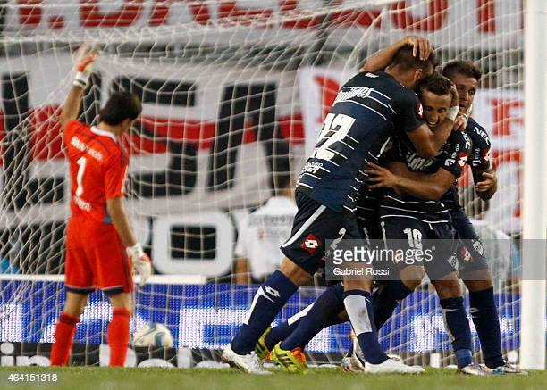 Diego buonanotte of Quilmes celebrates with his teammates after scoring the first goal of his team during a match between River Plate and Quilmes as...