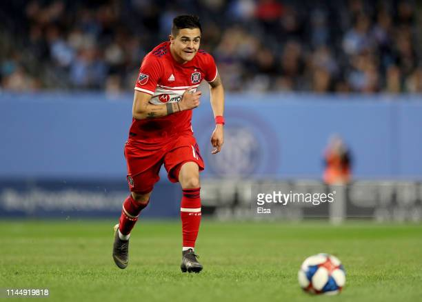 Diego Campos of Chicago Fire takes the ball in the second half against the New York City FC at Yankee Stadium on April 24 2019 in the Bronx borough...