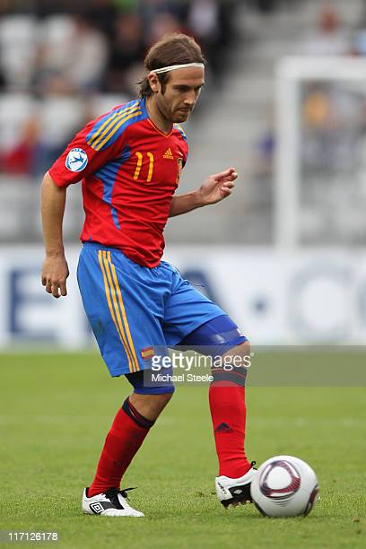 Diego Capel of Spain during the UEFA European Under21 Championship semifinal match between Belarus and Spain at the Viborg Stadium on June 22 2011 in...