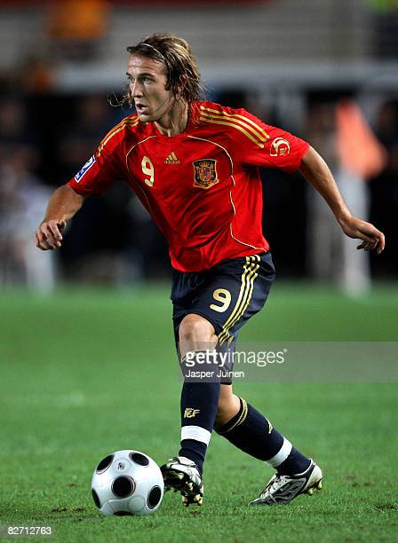 Diego Capel of Spain runs with the ball during the FIFA2010 World Cup Qualifier match between Spain and BosniaHerzegovina at the Nueva Condomina...
