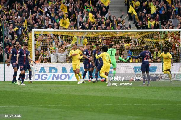 Diego Carlos of Nantes celebrates after scoring a goal during the Ligue 1 match between Nantes and Paris Saint Germain at Stade de la Beaujoire on...