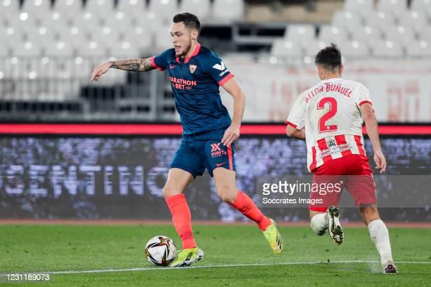 Diego Carlos of Sevilla FC, Aitor Bunuel of UD Almeria during the Spanish Copa del Rey match between UD Almeria v Sevilla at the Estadio de los...