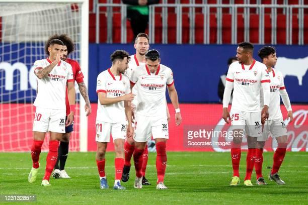 Diego Carlos of Sevilla FC celebrates 0-1 Fernando Reges of Sevilla FC, Munir El Haddadi of Sevilla FC, Jules Kounde of Sevilla FC, Jesus Navas of...