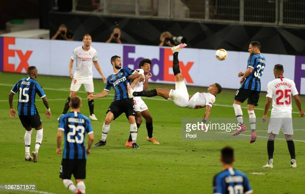 Diego Carlos of Sevilla FC kicks the ball overhead leading to his team's third goal during the UEFA Europa League Final between Seville and FC...