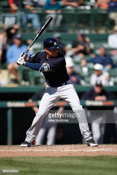 Diego Castillo of the New York Yankees gets ready for the next pitch during the Spring Training game against the Baltimore Orioles at Spectrum Field...