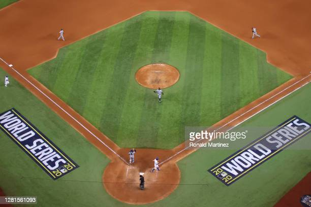 Diego Castillo of the Tampa Bay Rays celebrates after closing out the teams 6-4 victory against the Los Angeles Dodgers in Game Two of the 2020 MLB...