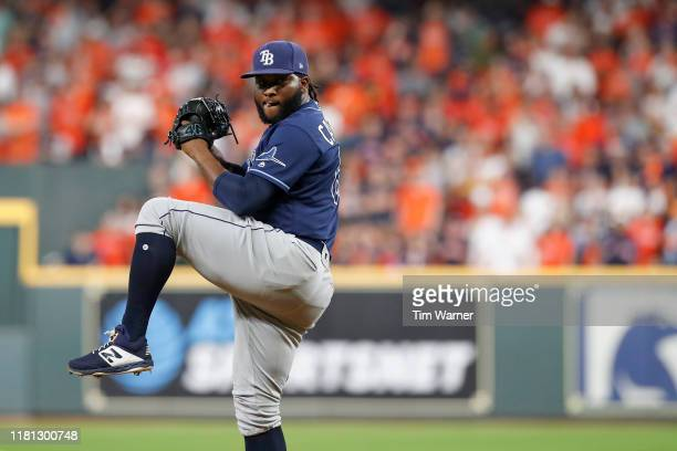 Diego Castillo of the Tampa Bay Rays pitches in the seventh inning against the Houston Astros during game five of the American League Divisional...