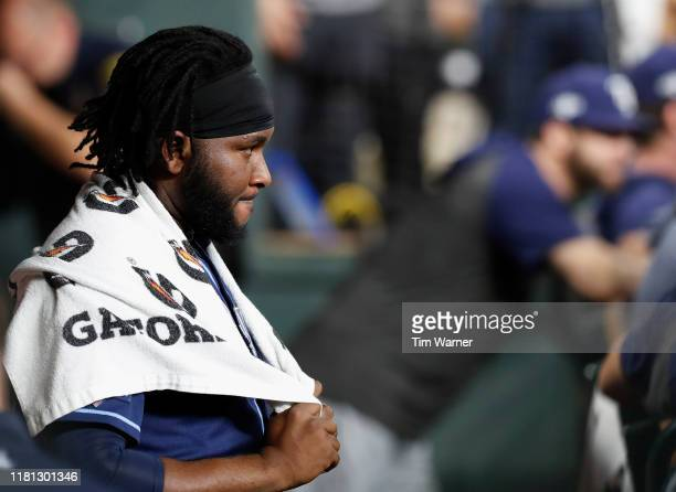 Diego Castillo of the Tampa Bay Rays reacts after being removed from the game in the seventh inning against the Houston Astros during game five of...