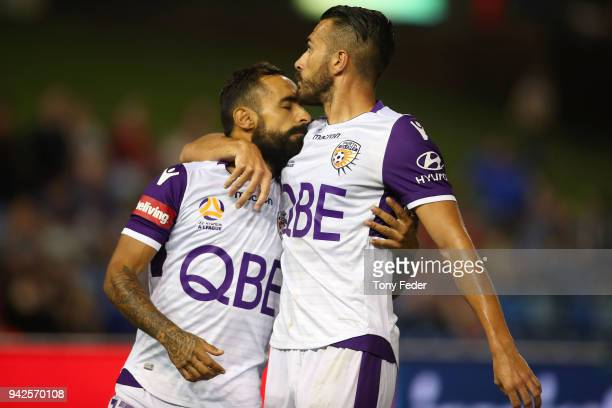 Diego Castro and Xavier Torres of the Glory celebrate a goal during the round 26 A-League match between the Newcastle Jets and the Perth Glory at...