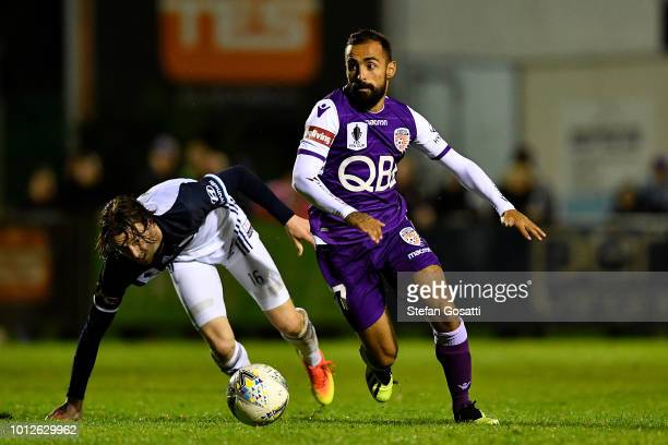Diego Castro Gimenez of the Glory controls the ball during the FFA Cup round of 32 match between Perth Glory and Melbourne Victory at Dorrien Gardens...