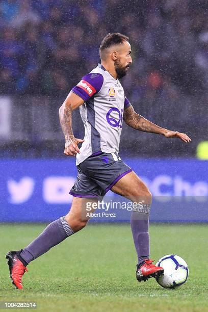 Diego Castro of Perth Glory dribbles the ball during the international friendly between Chelsea FC and Perth Glory at Optus Stadium on July 23 2018...