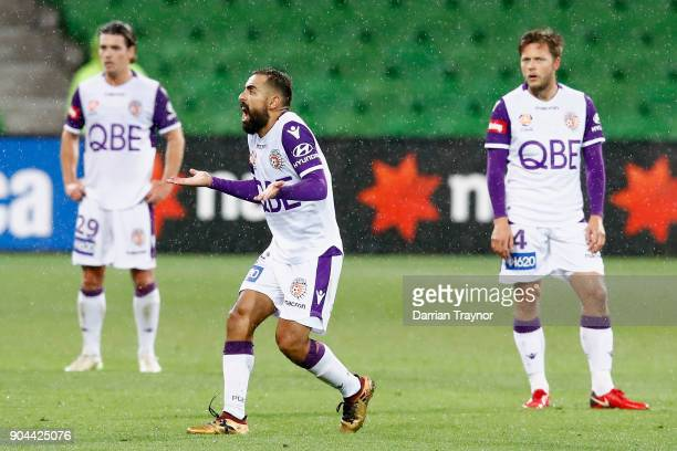Diego Castro of Perth Glory yells at the video referee during the round 16 ALeague match between the Melbourne Victory and Perth Glory at AAMI Park...