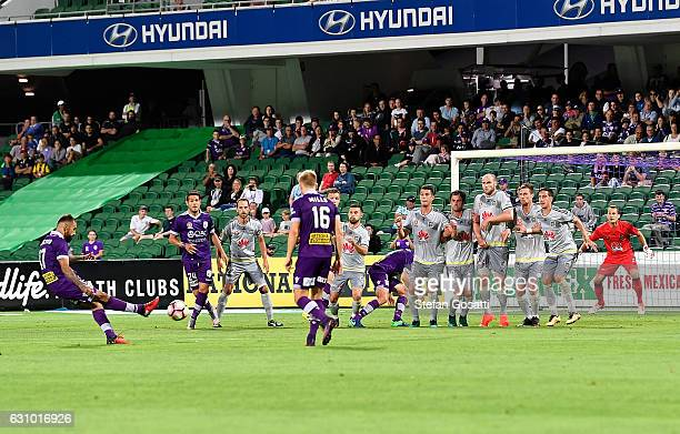 Diego Castro of the Glory attempts to score from a penalty kick during the round 14 ALeague match between the Perth Glory and the Wellington Phoenix...