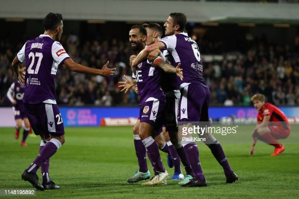 Diego Castro of the Glory celebrates a goal during the ALeague Semi Final match between the Perth Glory and Adelaide United at HBF Park on May 10...