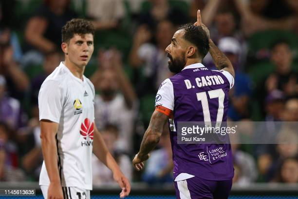 Diego Castro of the Glory celebrates a goal during the round 27 ALeague match between the Perth Glory and Wellington Phoenix at HBF Park on April 28...