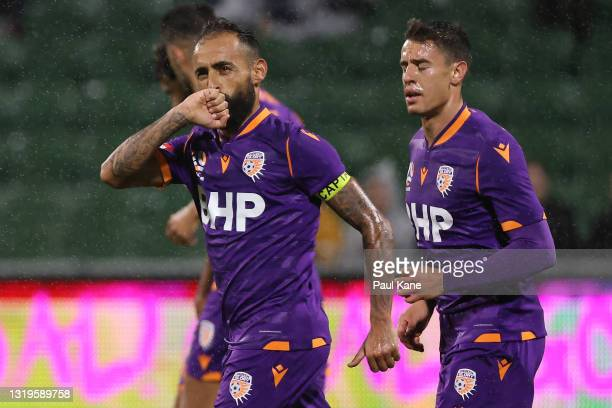 Diego Castro of the Glory celebrates a goal from a penalty kick during the A-League match between Perth Glory and Macarthur FC at HBF Park, on May 23...