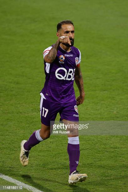 Diego Castro of the Glory celebrates after scoring a goal during the ALeague Semi Final match between the Perth Glory and Adelaide United at HBF Park...