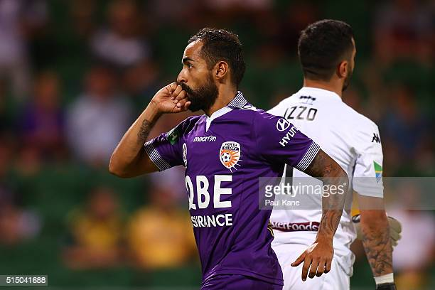 Diego Castro of the Glory celebrates after scoring from a penalty kick during the round 23 ALeague match between the Perth Glory and the Central...