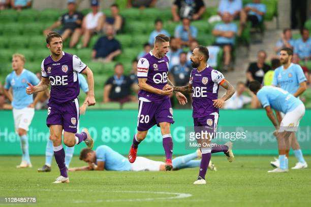 Diego Castro of the Glory celebrates after scoring late during the round 21 ALeague match between Melbourne City and the Perth Glory at AAMI Park on...