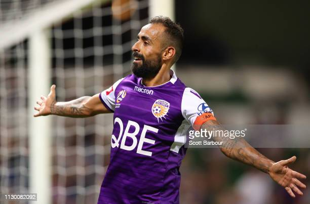 Diego Castro of the Glory celebrates after scoring their fourth goal during the round 19 ALeague match between the Perth Glory and the Brisbane Roar...