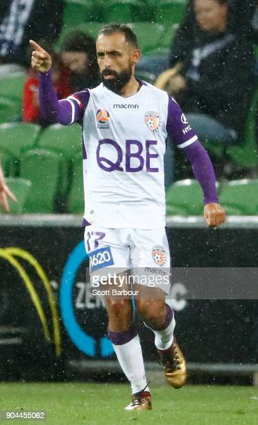 Diego Castro of the Glory celebrates after scoring their second goal during the round 16 ALeague match between the Melbourne Victory and Perth Glory...