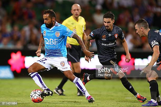 Diego Castro of the Glory controls the ball against Jamie Maclaren of the Roar during the round 20 ALeague match between the Perth Glory and Brisbane...