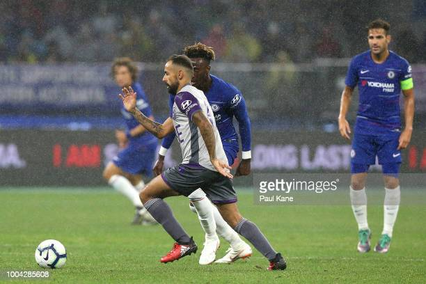 Diego Castro of the Glory controls the ball during the international friendly between Chelsea FC and Perth Glory at Optus Stadium on July 23 2018 in...