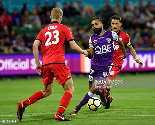 Diego Castro of the Glory controls the ball during the round 14 ALeague match between the Perth Glory and Adelaide United at nib Stadium on January 5...