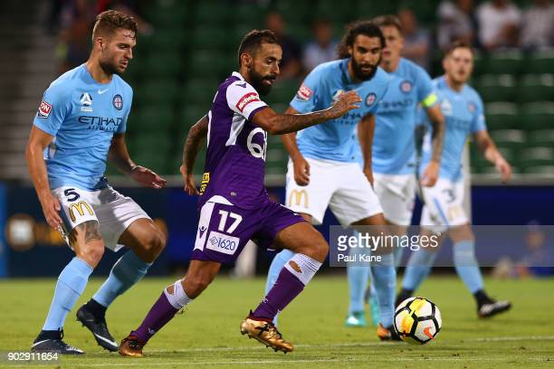 Diego Castro of the Glory controls the ball during the round 15 ALeague match between the Perth Glory and Melbourne City FC at nib Stadium on January...