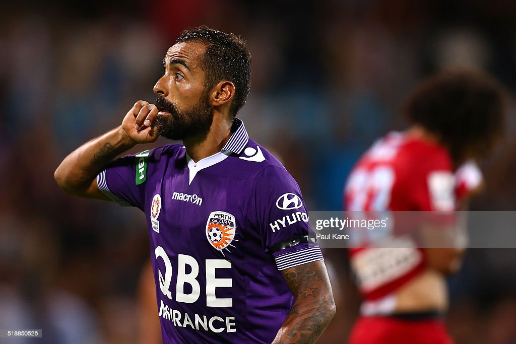 Diego Castro of the Glory gestures to the shed after scoring during the round 26 A-League match between the Perth Glory and Melbourne City FC at nib Stadium on April 3, 2016 in Perth, Australia.
