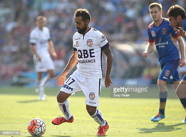Diego Castro of the Glory in action during the round 16 ALeague match between the Newcastle Jets and the Perth Glory at Hunter Stadium on January 24...