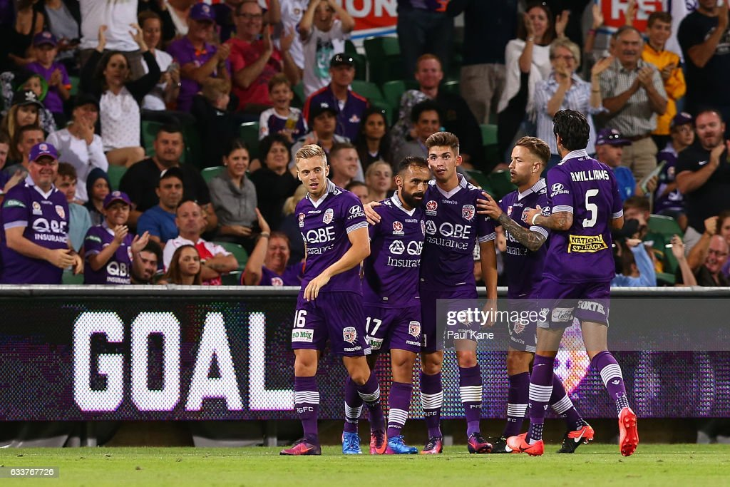 Diego Castro of the Glory is congratulated by team mates after scoring a goal during the round 18 A-League match between the Perth Glory and the Newcastle Jets at nib Stadium on February 4, 2017 in Perth, Australia.